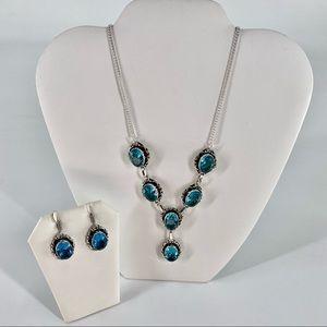 S925 Silver Blue Topaz Necklace Earrings Set